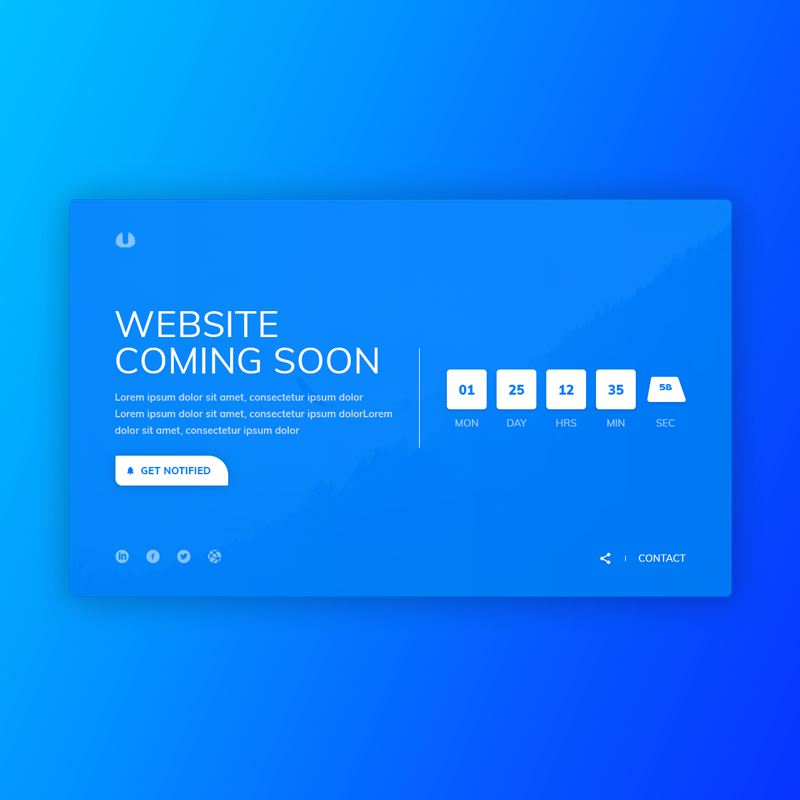 Coming Soon Page – PSD Template