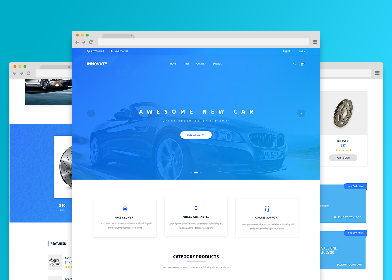 Car parts html template