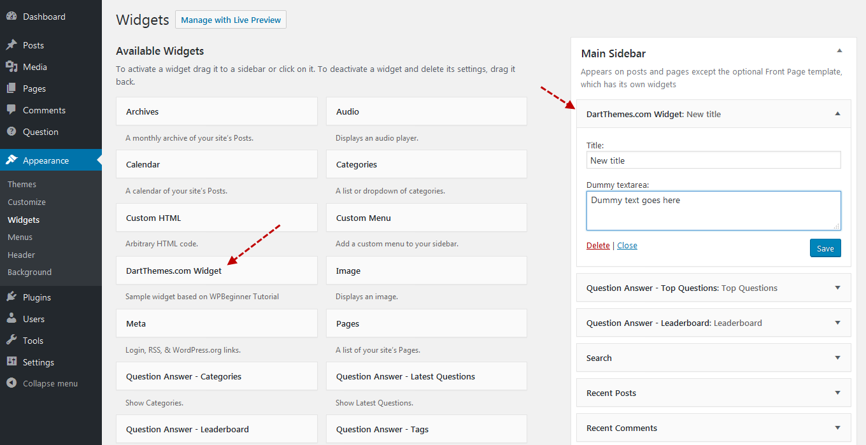 Create WordPress widget