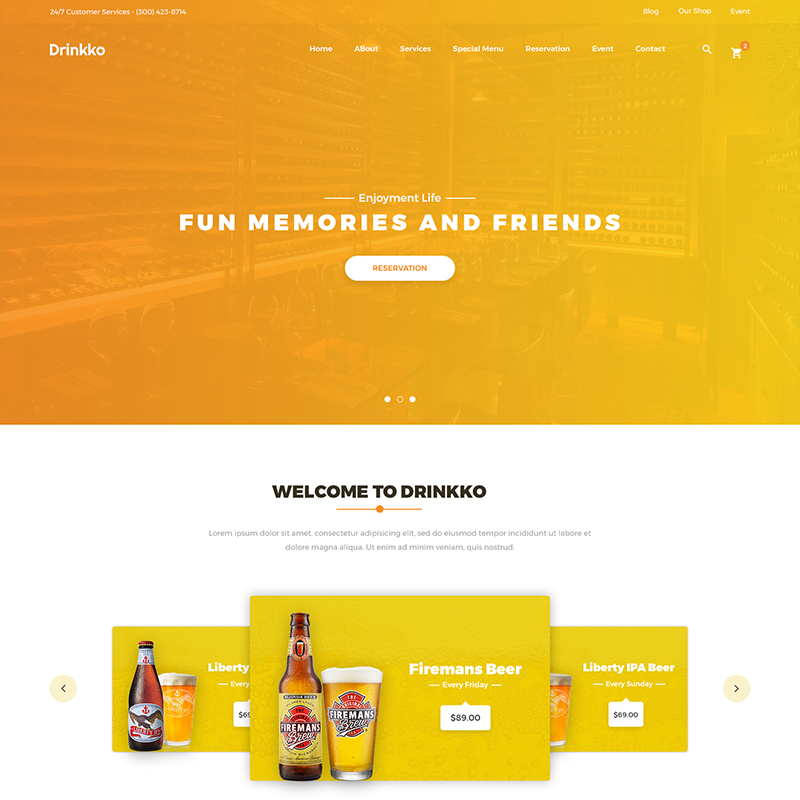 drink landing page