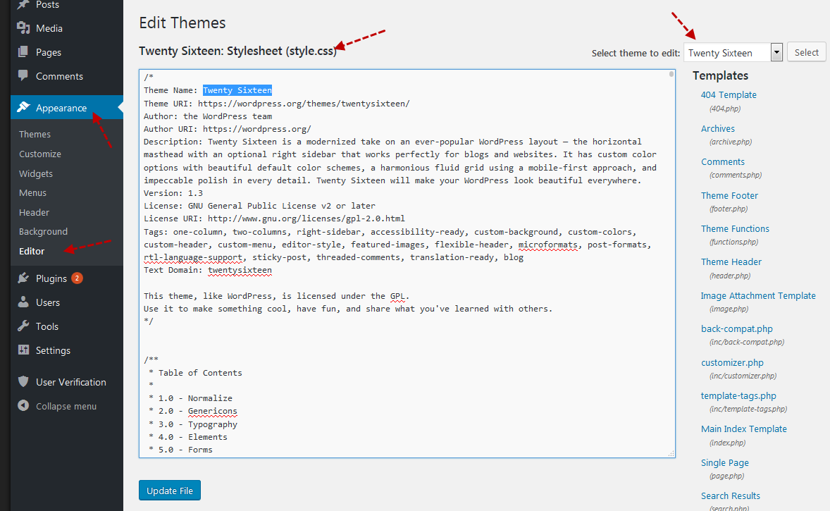 edit theme style file