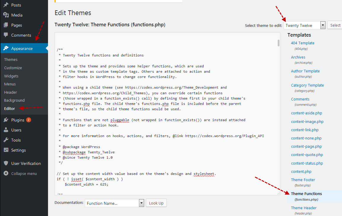 How to edit theme functions.php