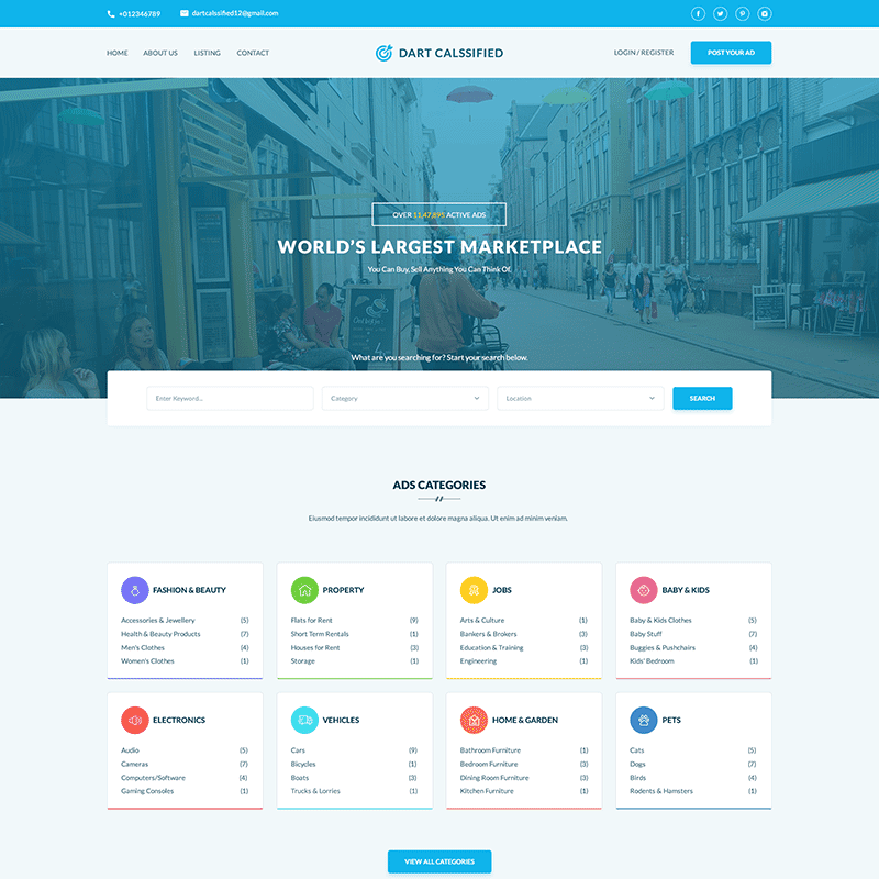 Dart Classified – WordPress Template