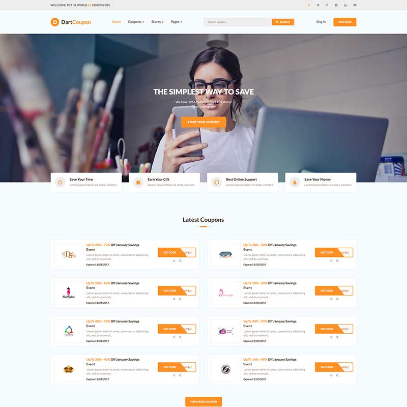 50+ PSD HTML Bootstrap WordPress Templates